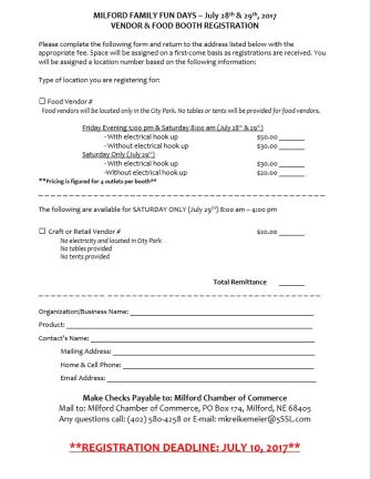 Craft Vendor Form